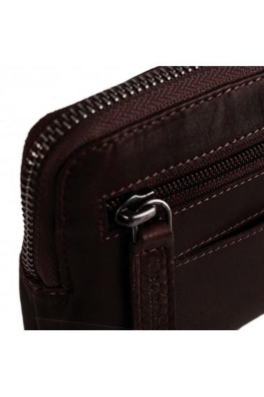 Portofel multifunctional The Chesterfield Brand cu protectie anti scanare RFID din piele naturala moale maro Jane
