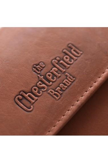 Portofel The Chesterfield Brand cu protectie anti scanare RFID din piele naturala moale maro coniac Ascot