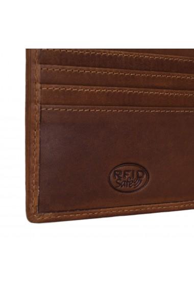 Portofel slim The Chesterfield Brand cu protectie anti scanare RFID din piele naturala maro coniac Danny