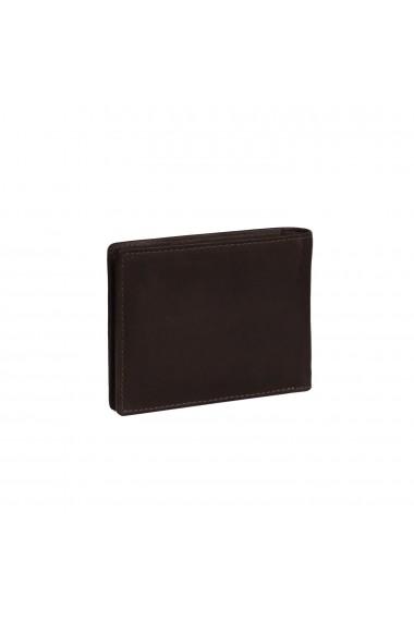 Portofel slim The Chesterfield Brand cu protectie anti scanare RFID din piele naturala maro inchis Danny