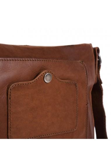 Geanta de barbati The Chesterfield Brand din piele moale maro coniac Bodin