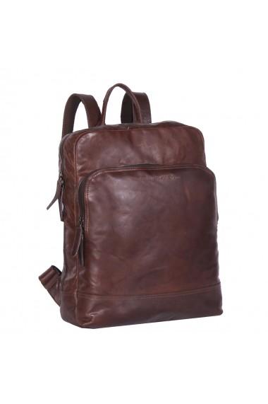 Rucsac pentru laptop de 15 4 inch si tableta The Chesterfield Brand din piele maro inchis model Mack
