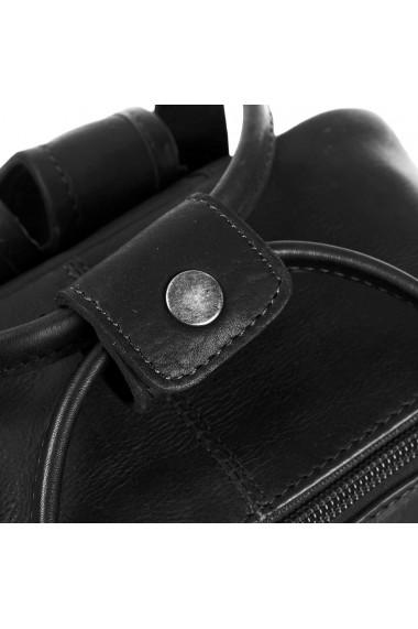 Rucsac The Chesterfield Brand din piele naturala neagra cu compartiment pentru tableta Danai