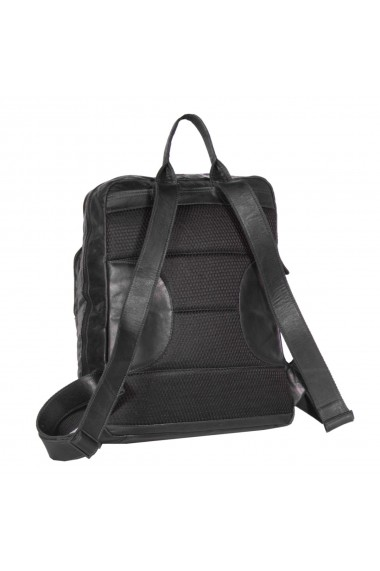 Rucsac pentru laptop de 15 4 inch si tableta The Chesterfield Brand din piele neagra model Mack
