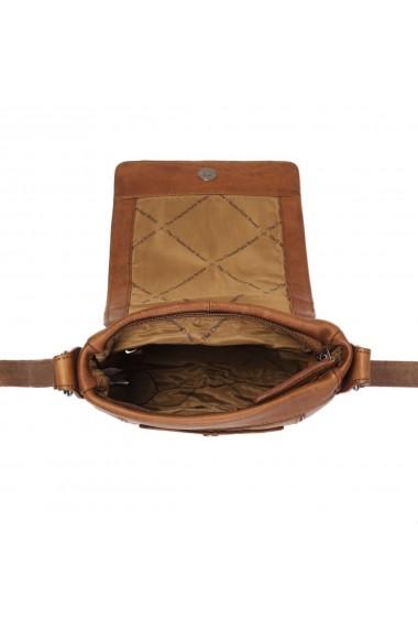 Geanta mica de barbati The Chesterfield Brand din piele naturala moale maro coniac Bodil