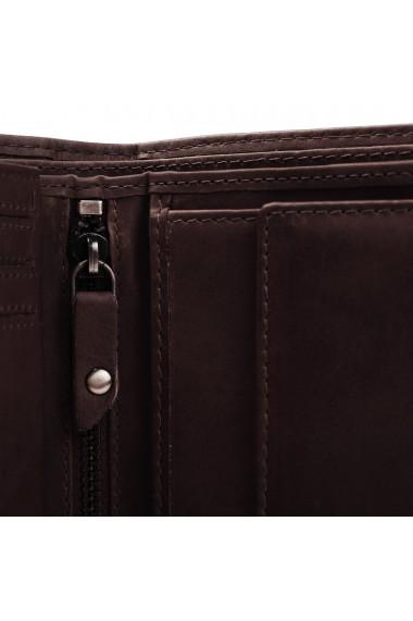 Portofel barbati The Chesterfield Brand cu protectie anti scanare RFID din piele naturala maro inchis Ruby