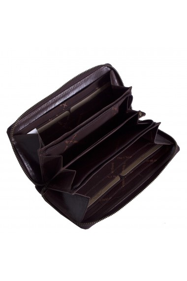 Portofel dama The Chesterfield Brand cu protectie anti scanare RFID din piele naturala maro inchis Bridget