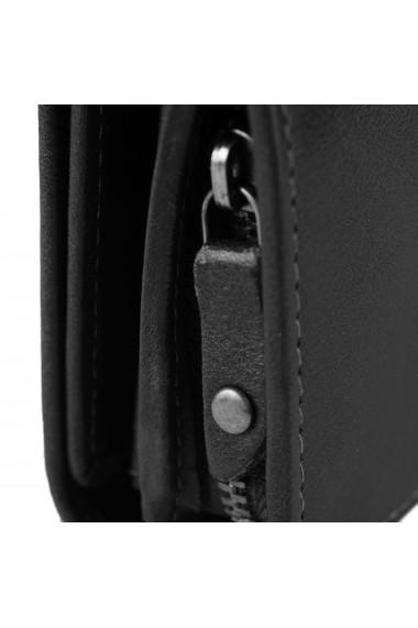 Portofel dama The Chesterfield Brand cu protectie anti scanare RFID din piele naturala neagra Aileen