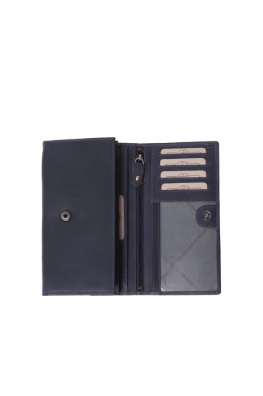 Portofel dama The Chesterfield Brand cu protectie anti scanare RFID din piele naturala bleumarin Mirthe