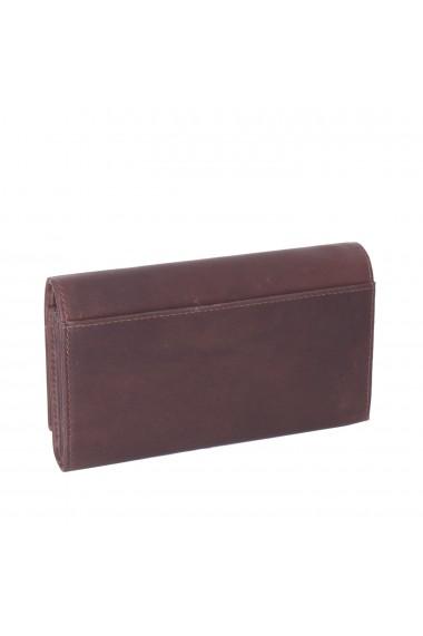 Portofel dama The Chesterfield Brand cu protectie anti scanare RFID din piele naturala maro inchis Mirthe