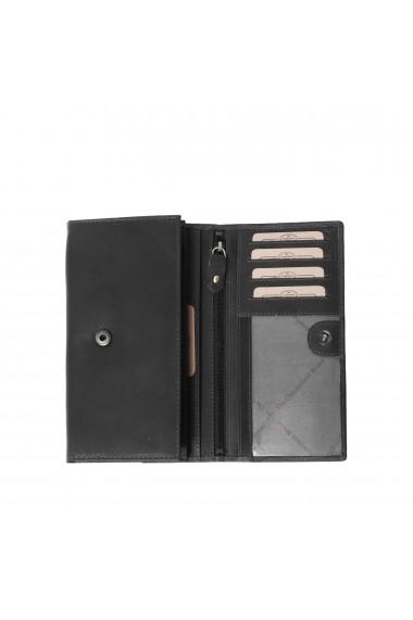 Portofel dama The Chesterfield Brand cu protectie anti scanare RFID din piele naturala neagra Mirthe