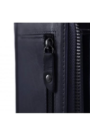 Portofel dama The Chesterfield Brand cu protectie anti scanare RFID din piele naturala bleumarin Nova