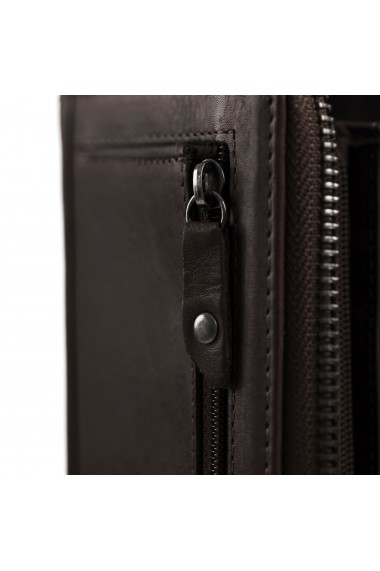 Portofel dama The Chesterfield Brand cu protectie anti scanare RFID din piele naturala maro inchis Nova