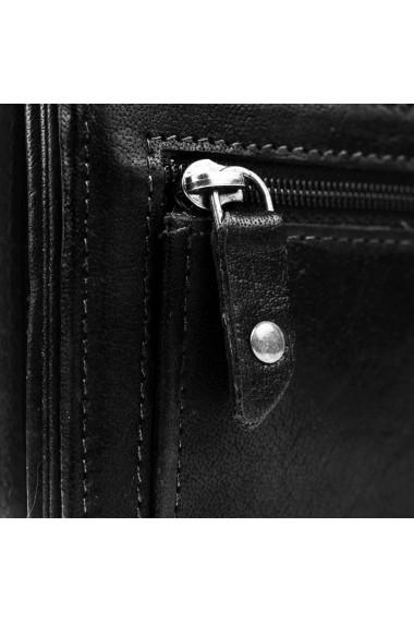 Portofel dama The Chesterfield Brand cu protectie anti scanare RFID din piele naturala neagra Hampton
