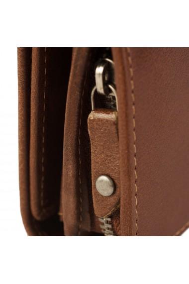 Portofel dama The Chesterfield Brand cu protectie anti scanare RFID din piele naturala maro coniac Aileen