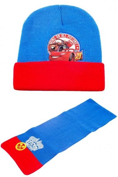 Set caciula cu fular Disney-Cars albastru-rosu accesorii imbracaminte copii