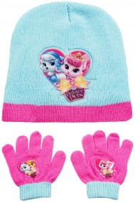 Set caciula cu manusi Disney-Palace Pets bleu-roz 2-12 ani accesorii imbracaminte copii