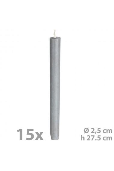 Set 15 lumanari pentru sfesnic Ø 2 5 cm h 27.5 cm gri C1106