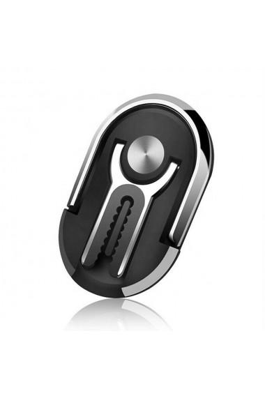 Inel suport telefon 2 in 1 cu adeziv 3M cu prindere pe ventilatie negru