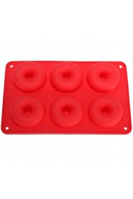 Forma de copt din silicon pentru 6 gogosi termorezistenta pana la 230 grade C 27.5 x 17.5 x 3 cm tava copt donuts 6 cavitati de Ø7 cm rosu Quasar&Co.