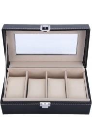 Cutie caseta 4 ceasuri bijuterii Quasar & Co. piele ecologica negru 21 x 10.9 x 8 cm