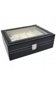 Cutie caseta 10 ceasuri Quasar & Co. bijuterii piele ecologica negru 25 x 20 x 8 cm