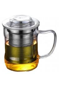 Cana cu infuzor metalic Quasar & Co. 320 ml sticla/metal transparent