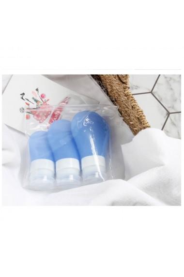Sticlute de silicon cu ventuza Quasar & Co. set 3 buc + geanta 30 ml 60 ml 90 ml dozator de silicon pentru produse de ingrijire perosnala kit calatorie/voiaj