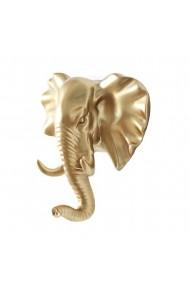 Suport decorativ perete in forma de elefant cuier prindere adeziv auriu