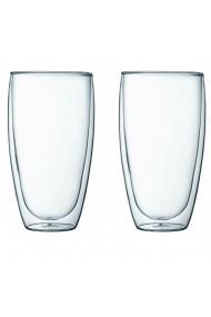 Set 2 pahare din sticla cu pereti dubli Quasar & Co. termorezistent design modern diametru 8 x h14 cm 450 ml