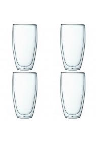Set 4 pahare din sticla cu pereti dubli Quasar & Co. termorezistent design modern diametru 8 x h14 cm 450 ml