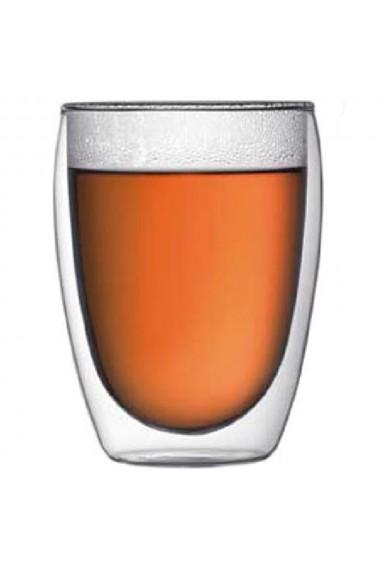 Pahar din sticla cu pereti dubli Quasar & Co. termorezistent design modern diametru 8 x h11.5 cm 350 ml