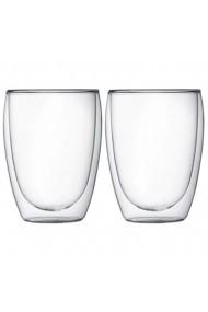 Set 2 pahare din sticla cu pereti dubli Quasar & Co. termorezistente design modern diametru 8 x h11.5 cm 350 ml