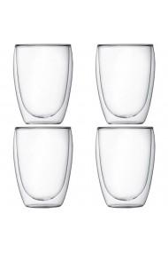 Set 4 pahare din sticla cu pereti dubli Quasar & Co. termorezistente design modern diametru 8 x h11.5 cm 350 ml