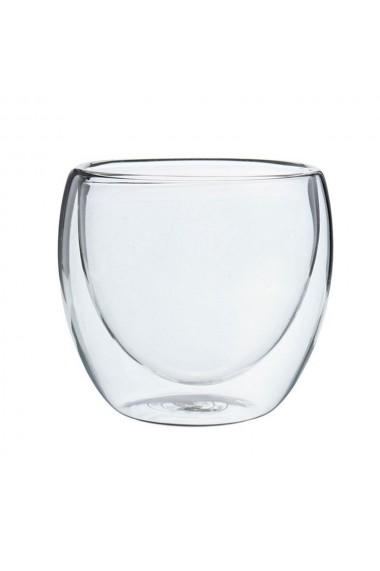 Pahar din sticla cu pereti dubli Quasar&Co. 250 ml pahar termic design modern pahar termorezistent h 9 cm d 8 cm