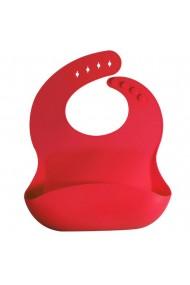 Bavetica flexibila din silicon pentru bebelusi baveta bebe din cauciuc moale usor de curatat antimurdarire cu buzunar colector larg inchidere ajustabila Quasar&Co. rosu