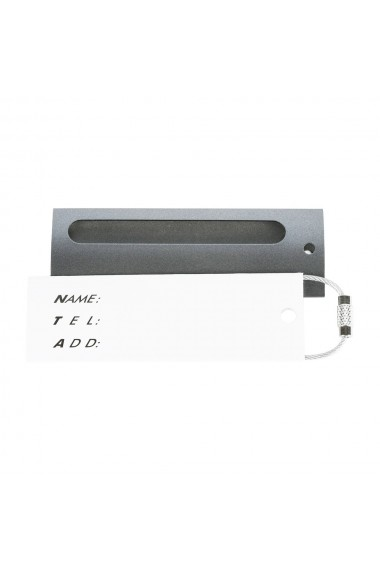 Tag metalic troler eticheta cu nume pentru identificare name tag accesoriu valiza de identificare cu inel metalic de prindere luggage tag 8.5 x 2.8 cm gri Quasar