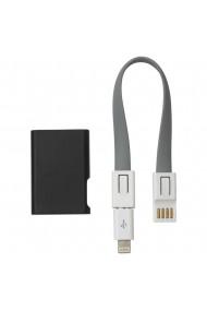 Cablu USB 3 in 1 tip breloc cablu date incarcare lungime cablu 18 cm lightning/USB/microUSB negru