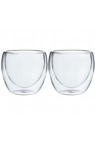 Set 2 pahare din sticla cu pereti dubli Quasar & Co. 250 ml termorezistente design modern h 9 cm d 8 cm