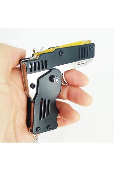 Set breloc pistol din otel si 300 benzi latex lansare elastice cauciuc nepericuloase multiple trageri similar prastie