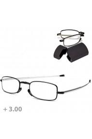 Ochelari de vedere cu dioptrii +3.00 pentru citit pliabili cu rama metalica usoara brate telescopice protectie nas cu etui din plastic captusit in interior negru