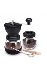 Rasnita manuala pentru cafea Quasar & Co. cu borcan depozitare si pensula curatare lingurita mecanism ceramica sticla/silicon/lemn transparent/negru