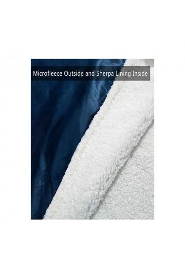 Patura cu maneci si gluga cu buzunar frontal captusit plusat ultra usor si calduros poliester albastru marime universala