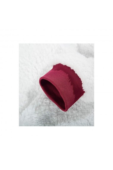 Patura cu maneci si gluga cu buzunar frontal captusit plusat ultra usor si calduros poliester rosu marime universala