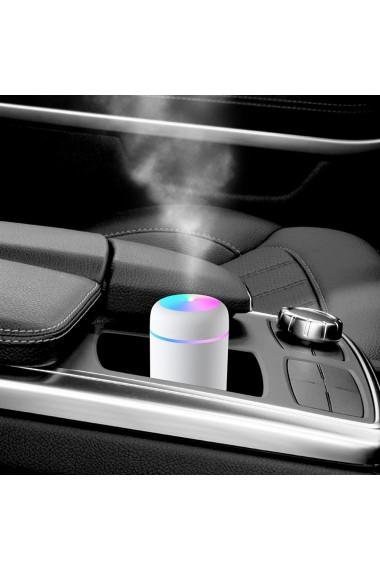Umidificator auto alimentare USB difuzor aroma iluminare Led 3W 300 ml alb