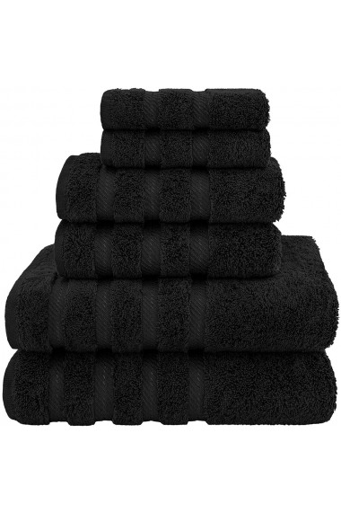 Set 6 prosoape groase 600 g/mp 2 x 33-33 cm 2 x 40-70 cm 2 x 70-140 cm bumbac 100% Quasar & Co. negru