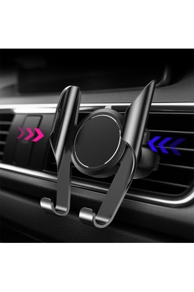 Suport telefon auto cu sistem de prindere pe ventilatie 360 de grade negru
