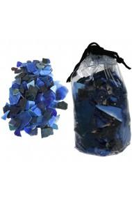 Sticla decorativa aplatizata forme neregulate sticla ornamentala Rasteli 620 g albastru art. 2753