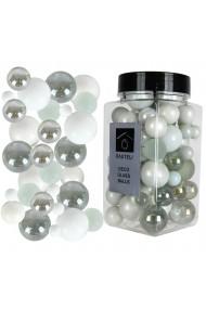Sfere decorative de sticla bile ornamentale Rasteli Ø 6-15 mm 500 g aspect lucios/mat alb-argintiu art. 3344