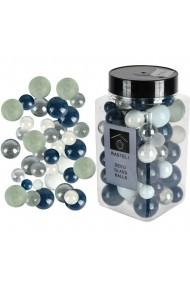 Sfere decorative de sticla bile ornamentale Rasteli Ø 6-15 mm 500 g aspect lucios/mat alb-bleumarin art. 3350